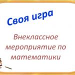 «Своя игра», методическая разработка внеклассного мероприятия